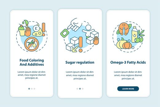 Diet and hyperactive behavior onboarding mobile app page screen