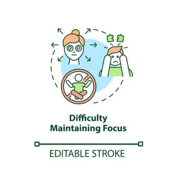 Difficulty maintaining focus concept icon
