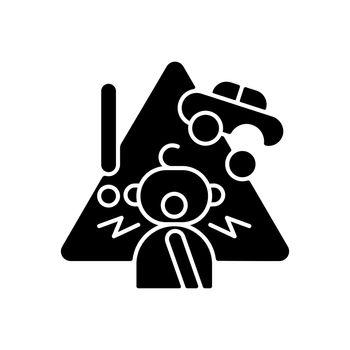 Choking hazard toys black glyph icon
