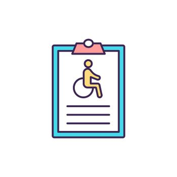 Individual disability insurance RGB color icon