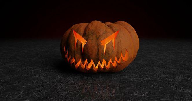 Halloween pumpkin with neckline and backlight 3d-rendering
