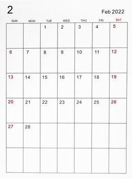 February 2022 calendar template.