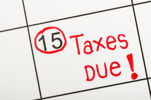 Tax due for reminde apointment on a calendar.