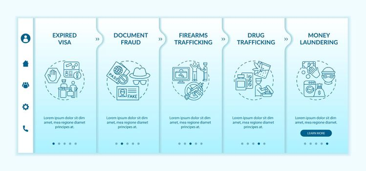 Reasons for deportation onboarding vector template