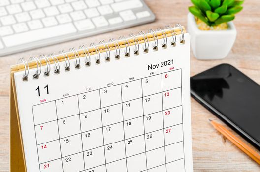 The november 2021 desk calendar