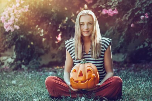Woman Celebrating Halloween Holidays