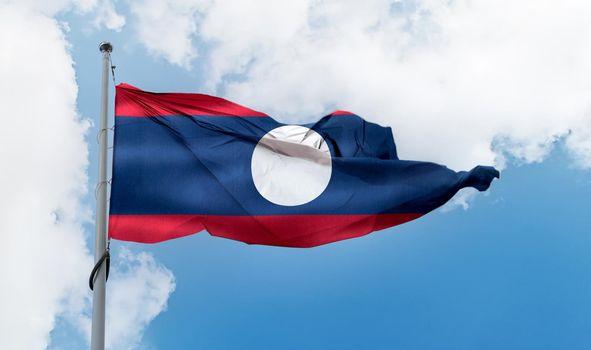 Laos flag - realistic waving fabric flag