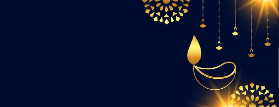 happy diwali website header in golden colors