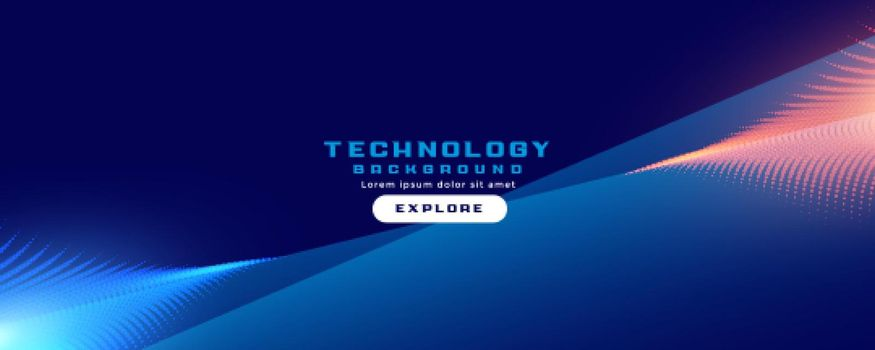 technology banner with particles streak