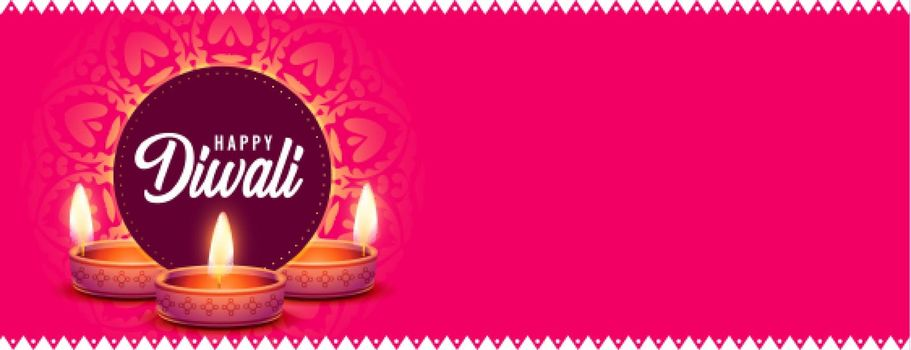 happy diwali website header banner with diya and text space