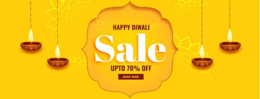 yellow banner for diwali festival sale