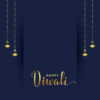 simple diwali card in golden colors hanging diya