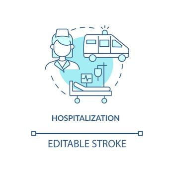 Hospitalization blue concept icon