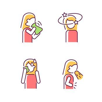Panic disorder symptoms RGB color icons set
