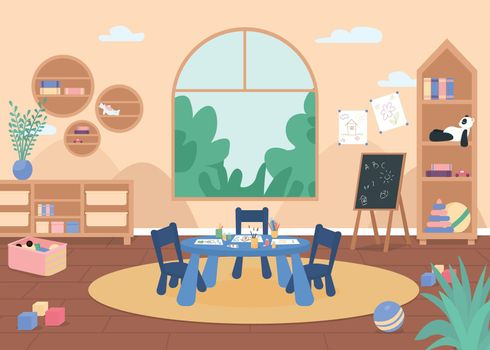 Kindergarten painting class flat color vector illustration