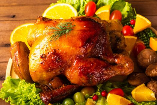 Thanksgiving roasted turkey or chicken and vegetables