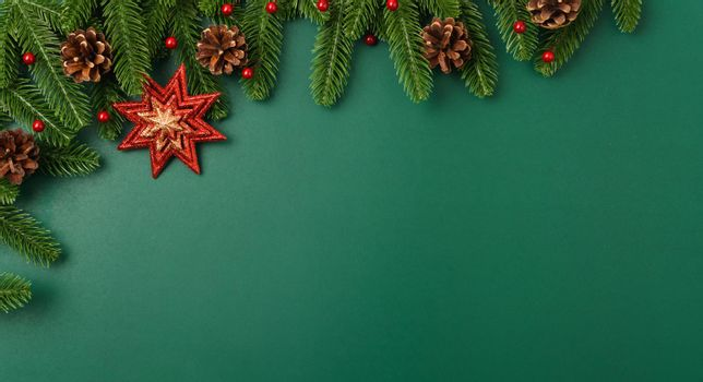 Happy new year, christmas day concept top view flat lay fir tree branches and decoration