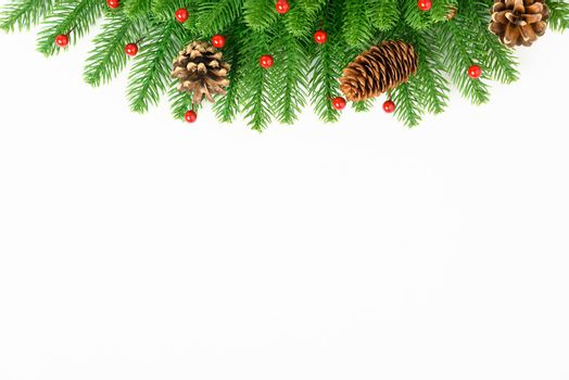 Happy new year or christmas day top view decorative fir tree