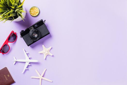 retro camera films, airplane, sunglasses, starfish traveler accessories
