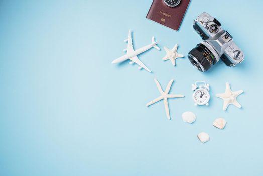 camera films, airplane, starfish, shells, passport traveler tropical accessories