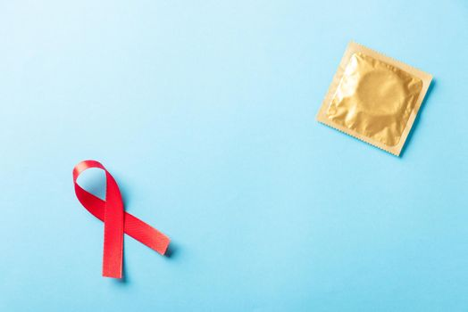 Red bow ribbon symbol HIV, AIDS cancer awareness and condom