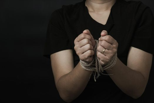 Slave Asian woman fears she was hands tied up with rope