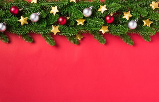 overhead green fir tree branches and decoration