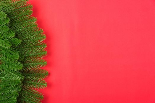 Happy new year or christmas day top view flat lay fir tree branches