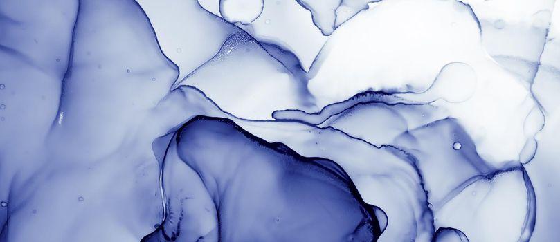 Water Ink Paint. Oil Wave Illustration. Indigo