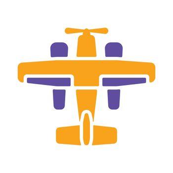 Small amphibian seaplane, plane vector glyph icon