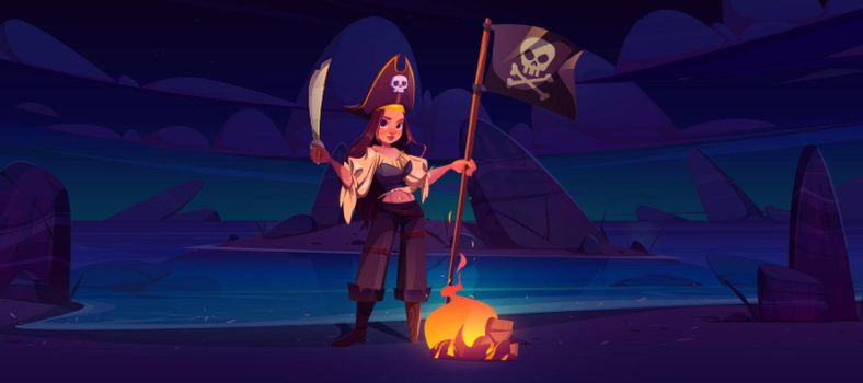 Girl pirate on night beach with jolly roger flag