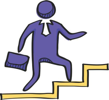 Businessman stairway icon in color drawing. Business office future ambition challenge