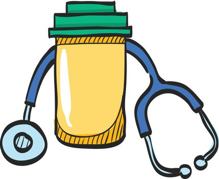 Pills bottle stethoscope icon in color drawing. Vitamin medicine drugs painkiller addiction doctor instrument