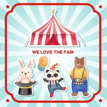 Sticker template with circus funfair concept,watercolor style
