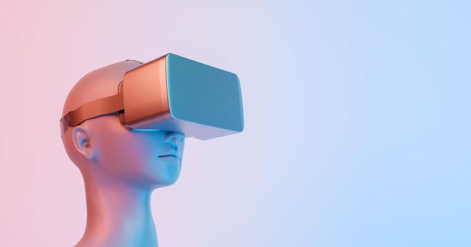 3d illustration of female bust with VR glasses