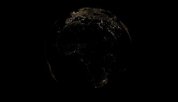 earth in darkness with the lights of the cities