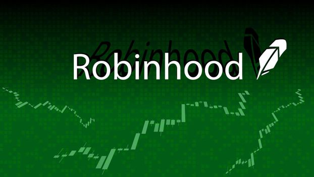 Robinhood cryptocurrency stock market name on abstract digital background. Crypto stock exchange banner for news and media.