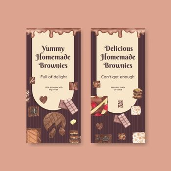 Flyer template with homemade brownie concept,watercolor style