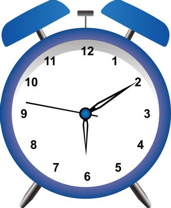Blue alarm clock wake-up time in flat style