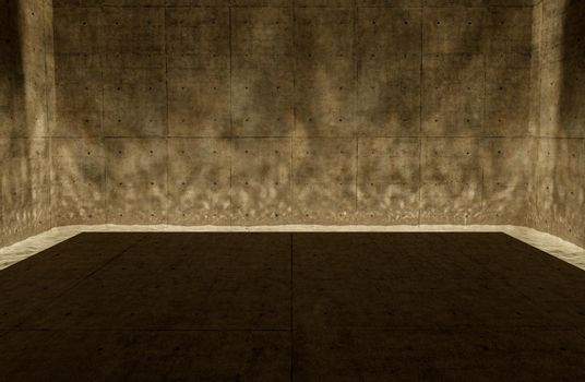 empty concrete room with caustic