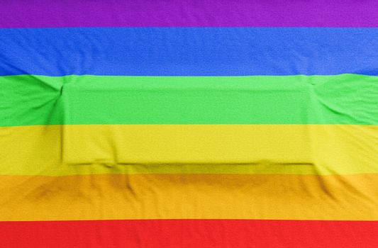 gay pride flag with rectangle embossing for text. 3d render