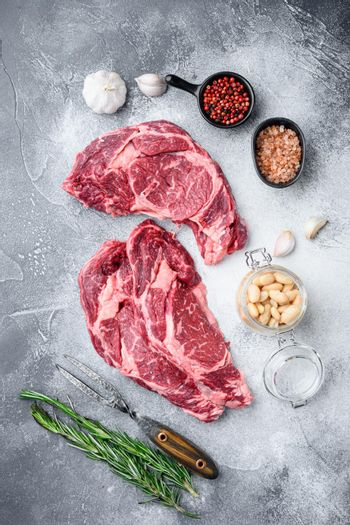 Raw fresh meat Ribeye steak entrecote of Black Angus Prime meat with ingredients, on gray stone background, top view flat lay
