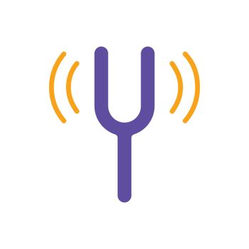 Tuning fork vector isolated flat glyph icon