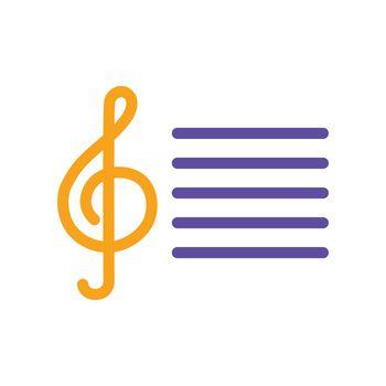 Treble clef vector glyph icon. Music sign