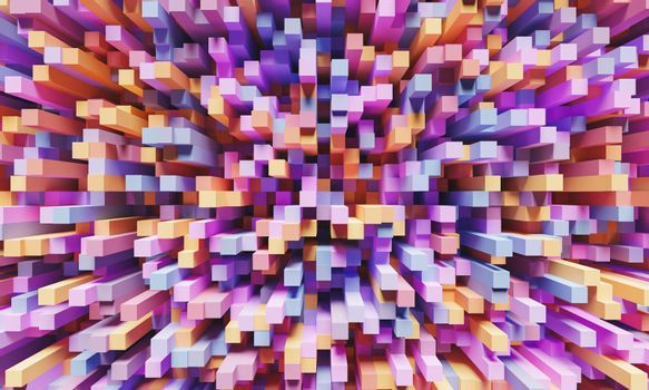 abstract background of elongated cubes