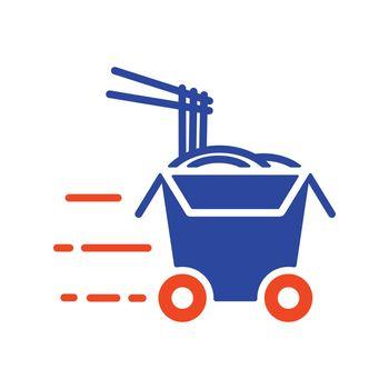 Wheeled wok box flat vector glyph icon