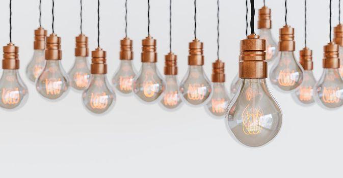 light bulbs hanging with orange filament