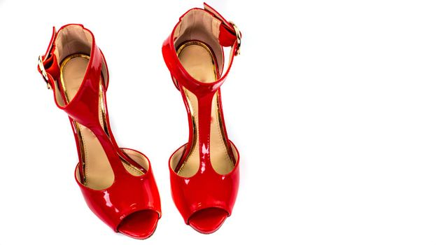 sandal with red patent heel
