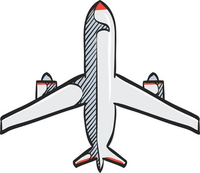 Color Sketch Icon Airplane commercial