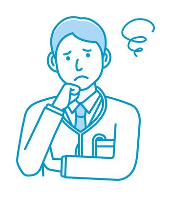 Young male doctor gesture variation illustration | thinking, worried, trouble